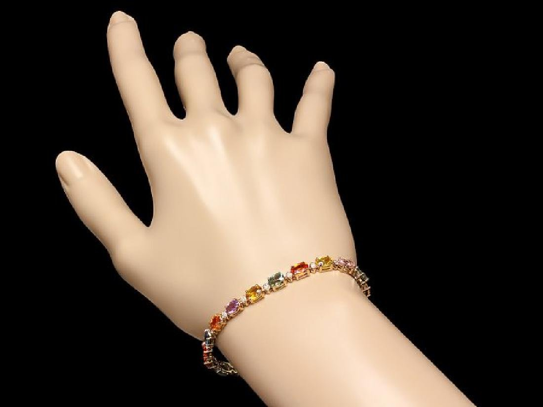 14k Gold 13.00ct Sapphire 0.50ct Diamond Bracelet - 4