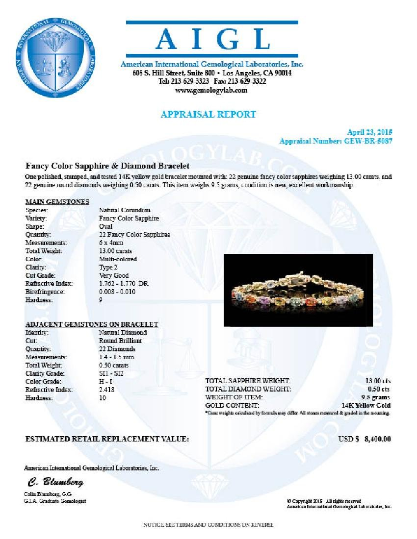 14k Gold 13.00ct Sapphire 0.50ct Diamond Bracelet - 6