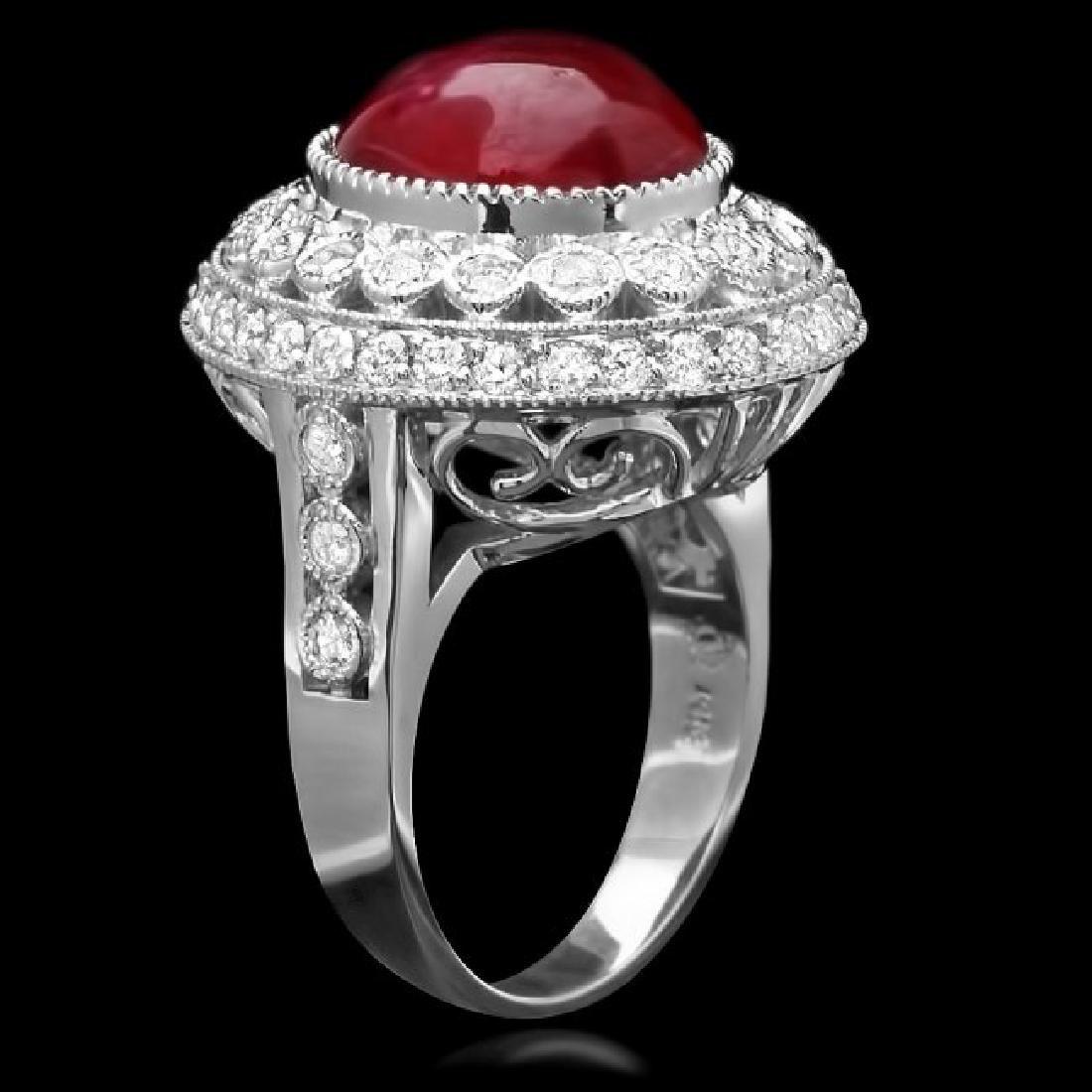 14k White Gold 10.00ct Ruby 1.25ct Diamond Ring - 2