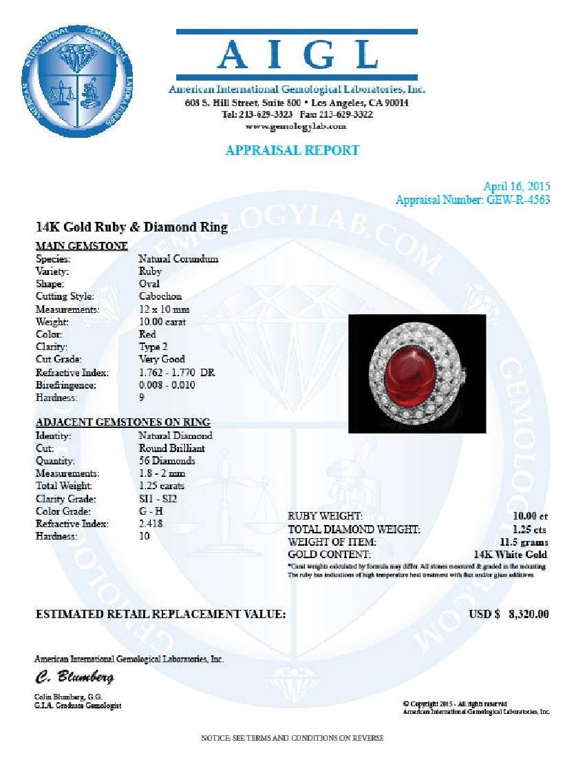 14k White Gold 10.00ct Ruby 1.25ct Diamond Ring - 4