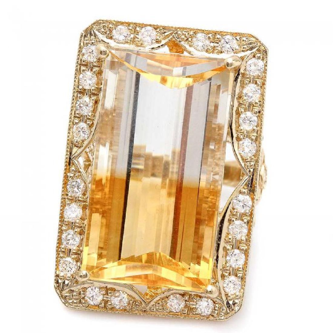 14k Gold 28.00ct Citrine 1.35ct Diamond Ring - 2