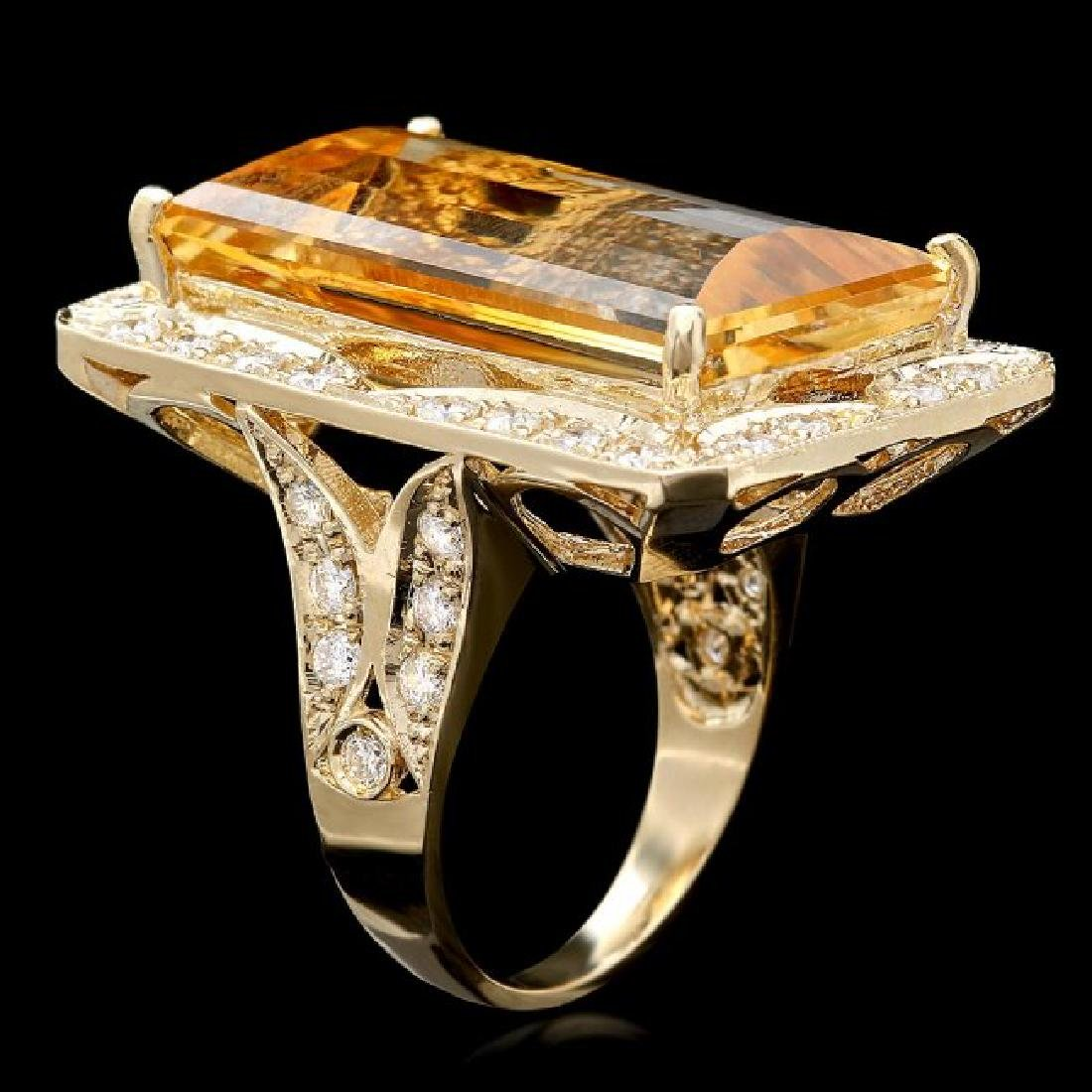 14k Gold 28.00ct Citrine 1.35ct Diamond Ring - 3