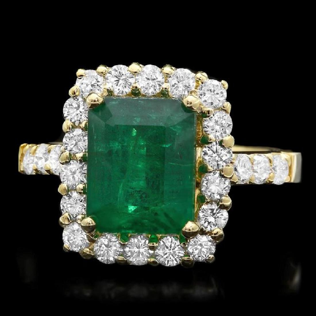 18k Yellow Gold 3.50ct Emerald 1ct Diamond Ring