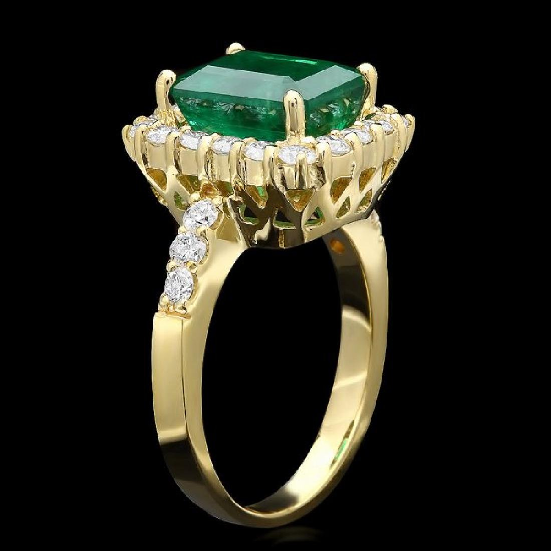 18k Yellow Gold 3.50ct Emerald 1ct Diamond Ring - 2