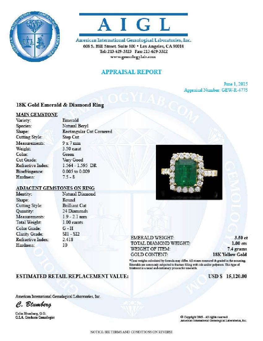 18k Yellow Gold 3.50ct Emerald 1ct Diamond Ring - 4