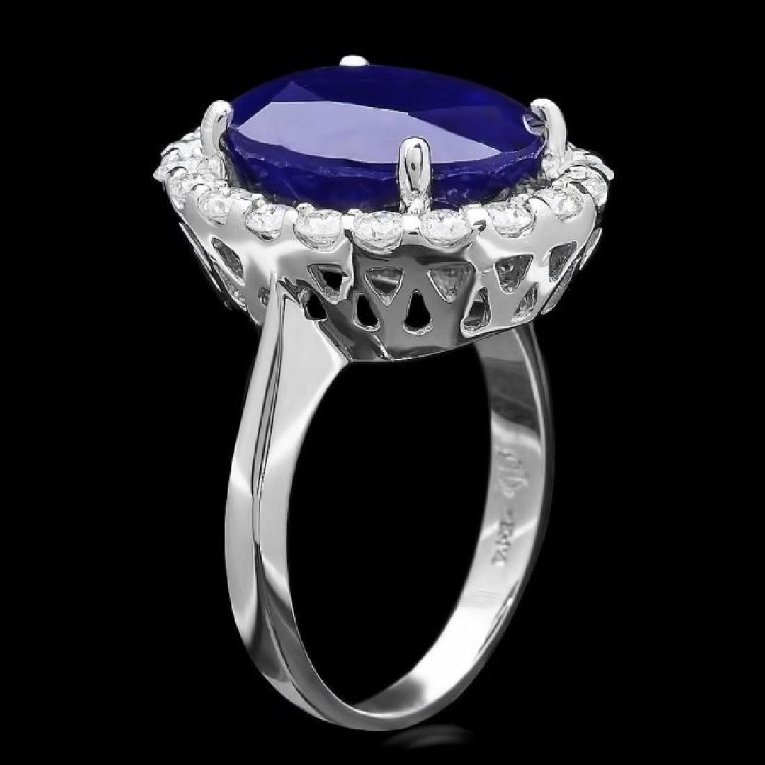 14k Gold 10.00ct Sapphire 0.90ct Diamond Ring - 2
