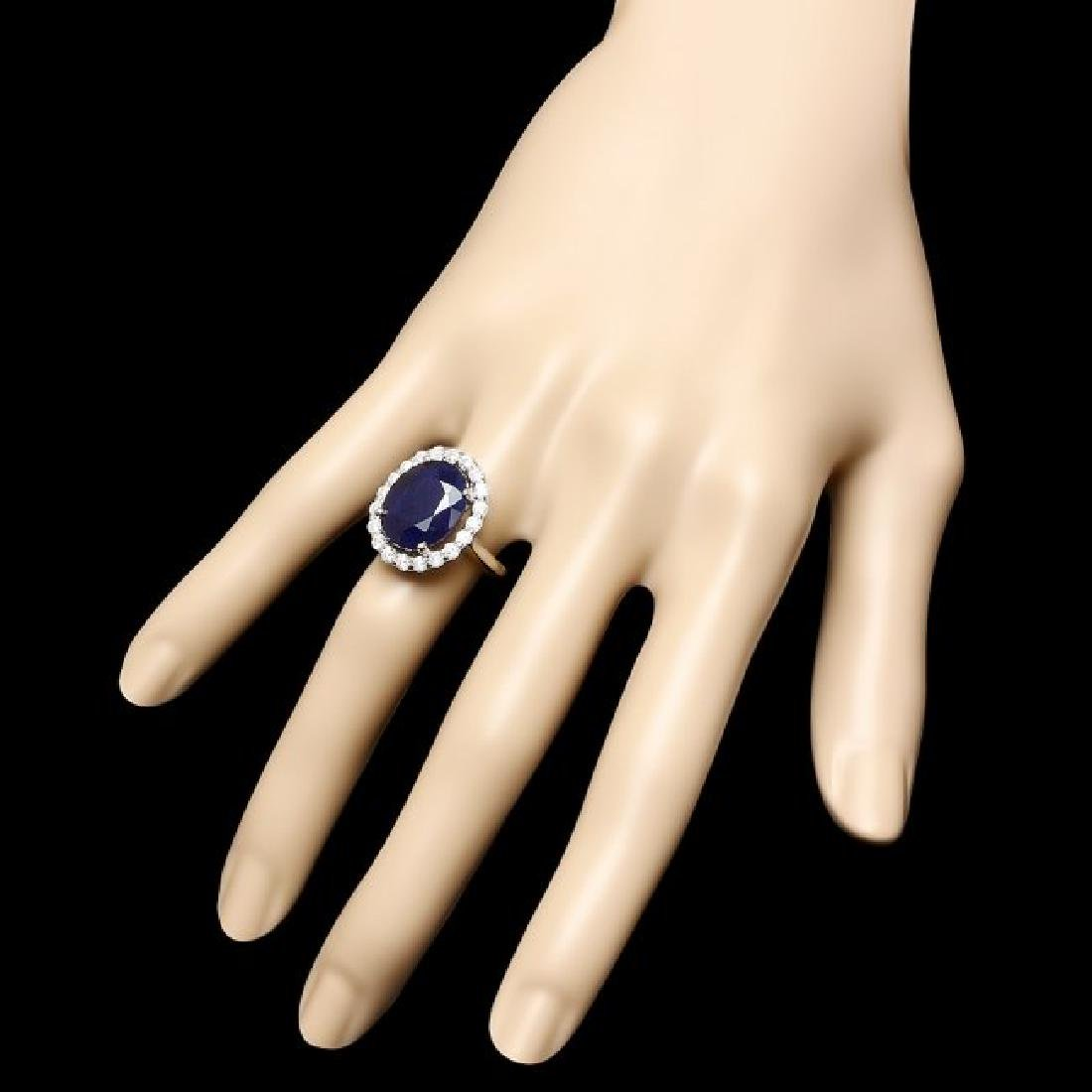 14k Gold 10.00ct Sapphire 0.90ct Diamond Ring - 3