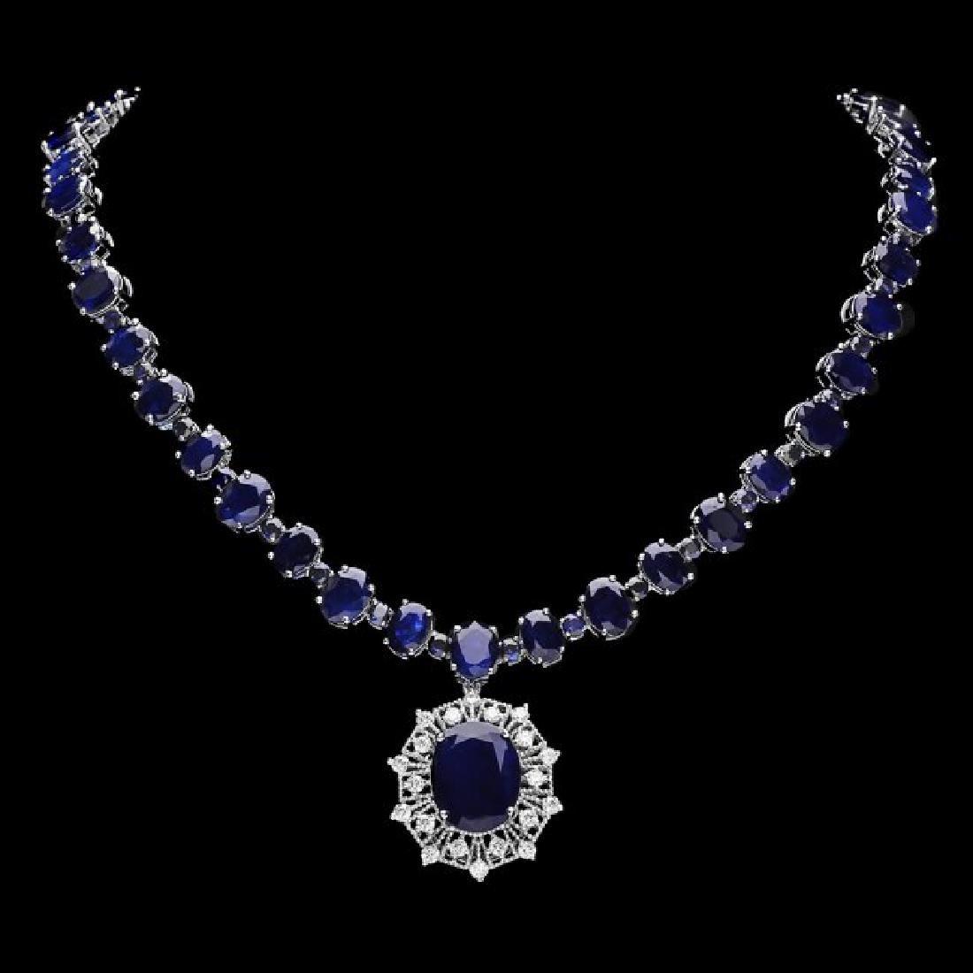 14k Gold 86ct Sapphire 1.40ct Diamond Necklace