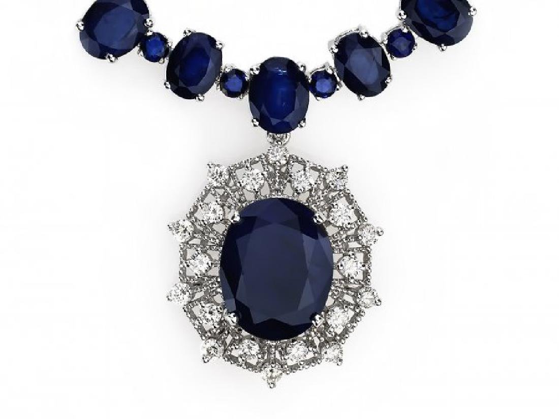 14k Gold 86ct Sapphire 1.40ct Diamond Necklace - 2