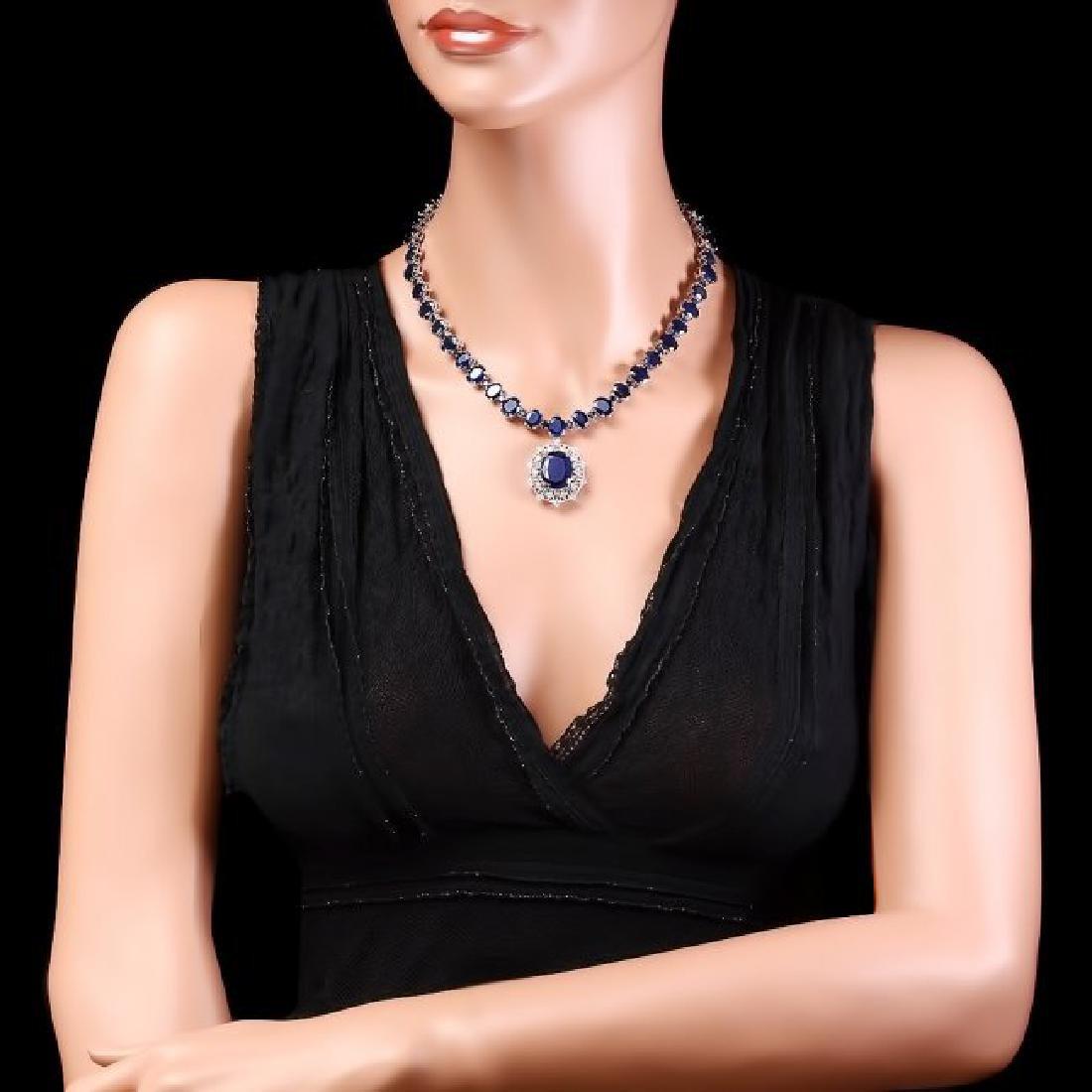 14k Gold 86ct Sapphire 1.40ct Diamond Necklace - 3