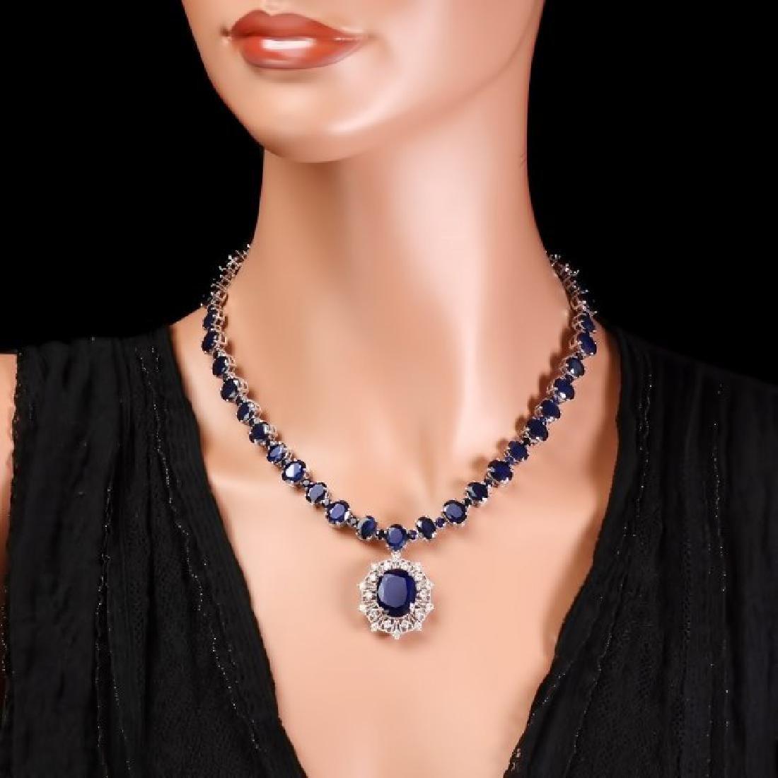 14k Gold 86ct Sapphire 1.40ct Diamond Necklace - 4