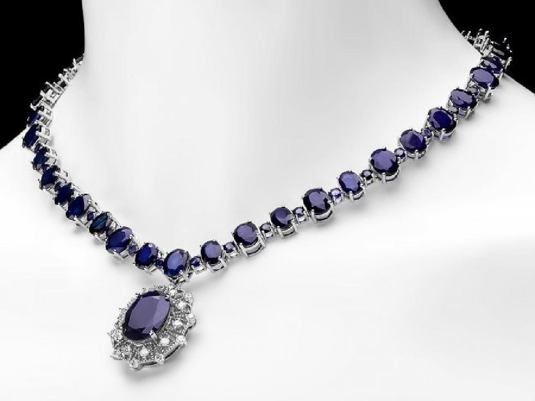 14k Gold 86ct Sapphire 1.40ct Diamond Necklace - 5