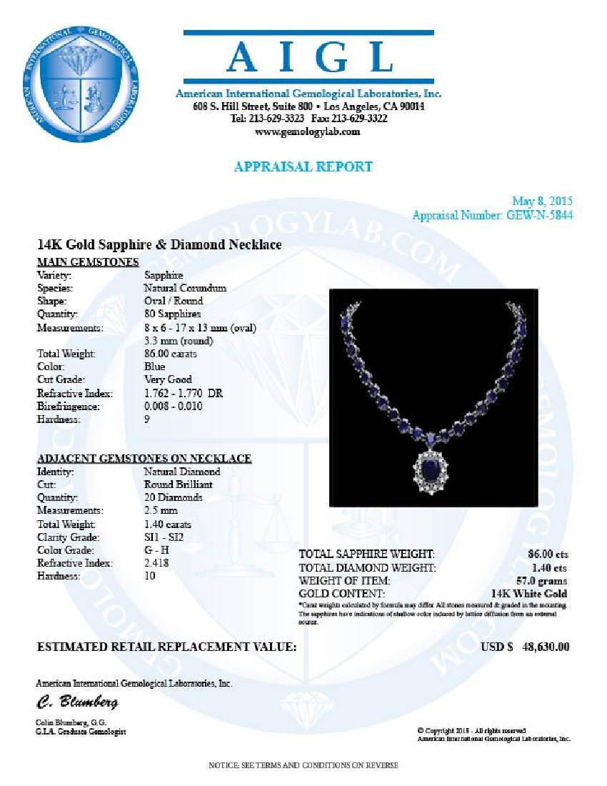 14k Gold 86ct Sapphire 1.40ct Diamond Necklace - 6
