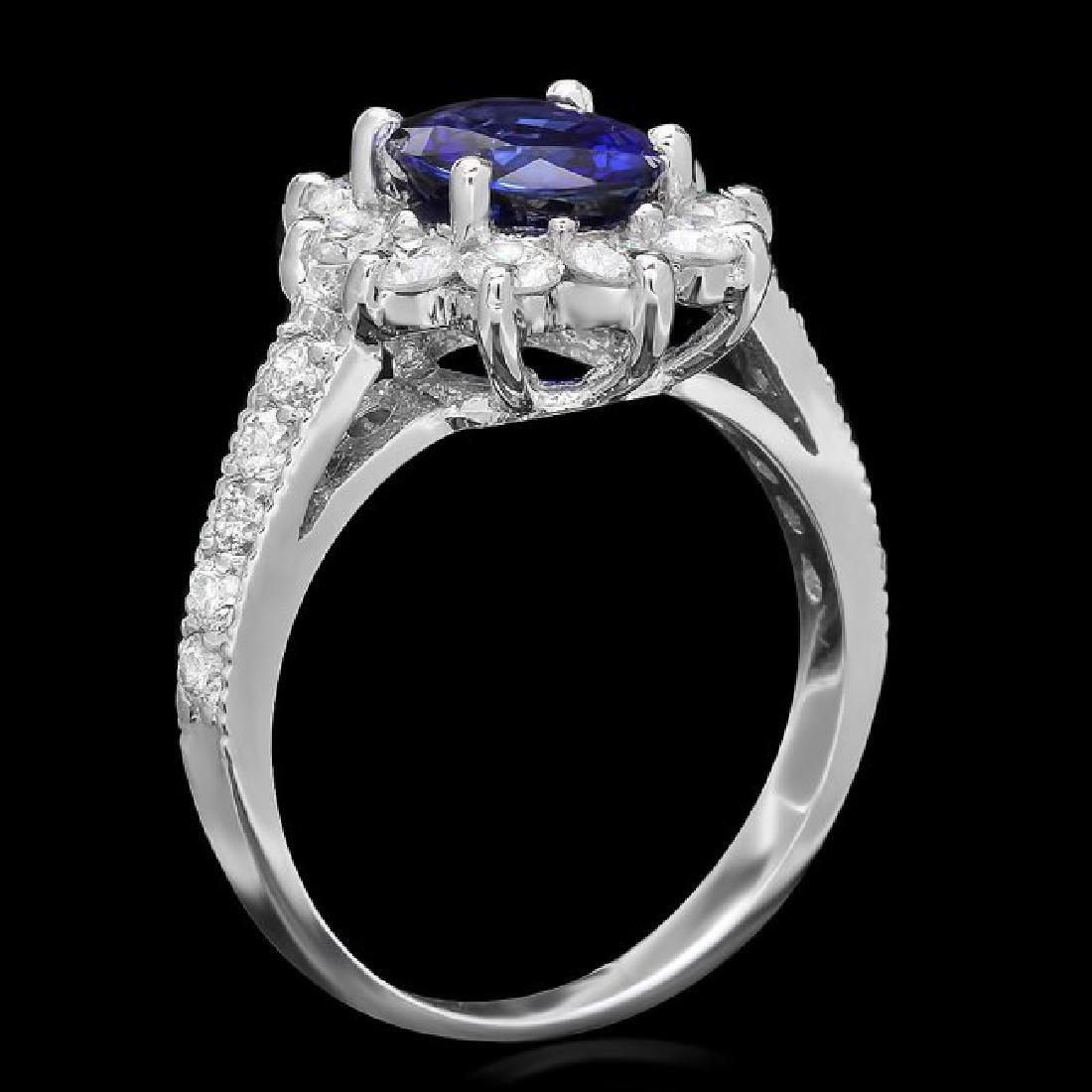 14k Gold 1.70ct Sapphire 1.20ct Diamond Ring - 2