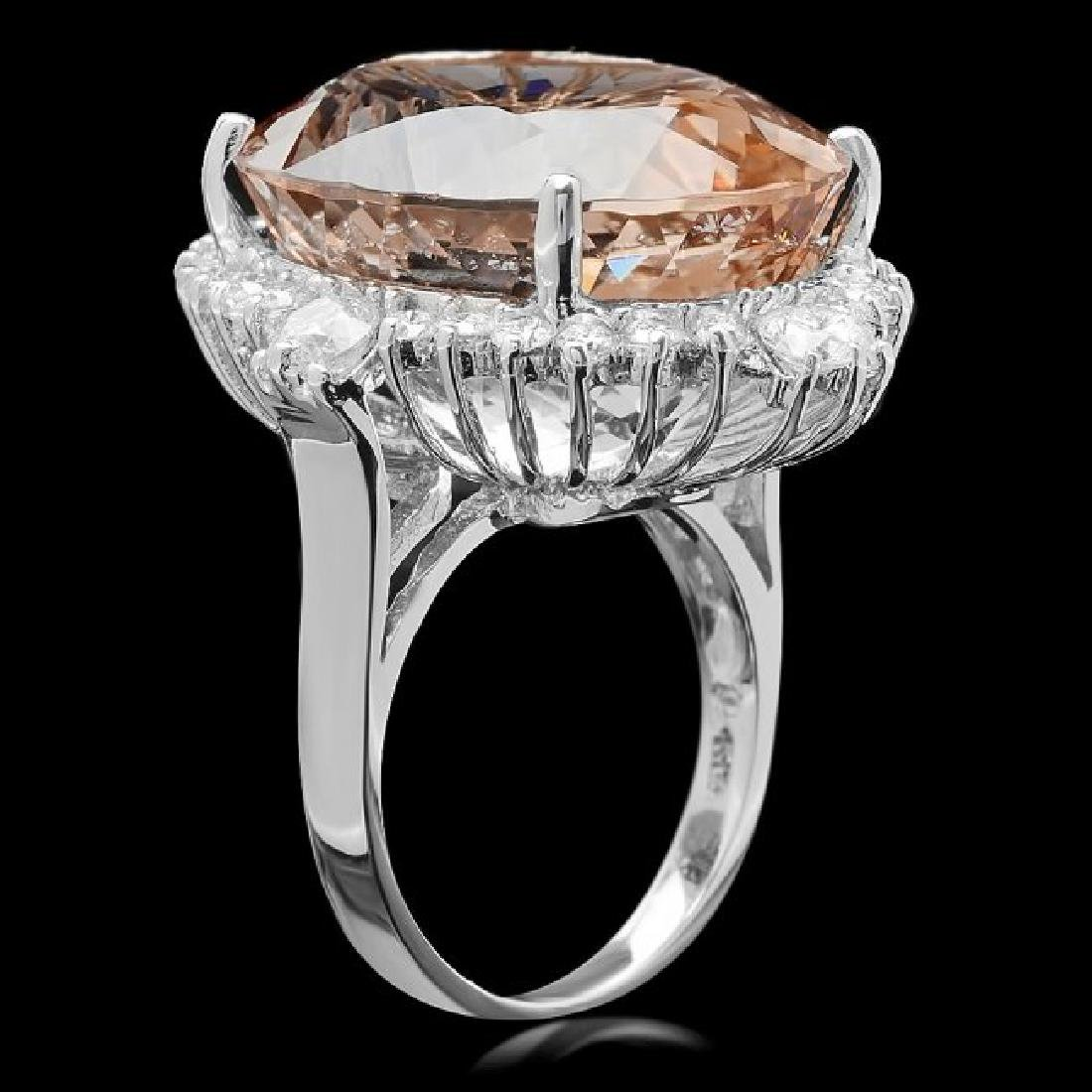 14k Gold 35.00ct Morganite 1.85ct Diamond Ring - 2