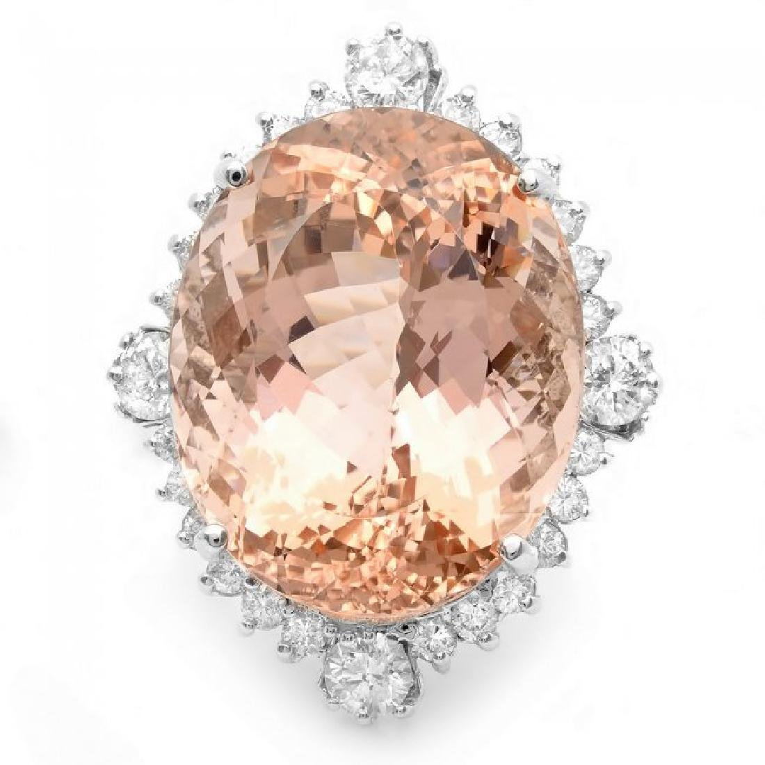 14k Gold 35.00ct Morganite 1.85ct Diamond Ring - 3