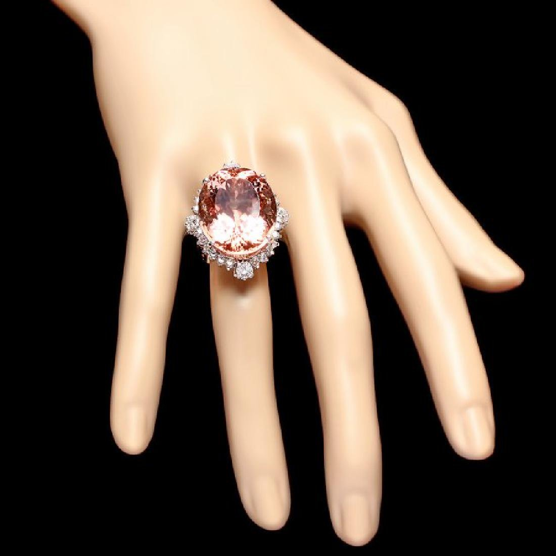 14k Gold 35.00ct Morganite 1.85ct Diamond Ring - 4