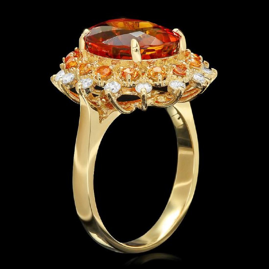 14k Gold 5.00ct Citrine 0.40ct Diamond Ring - 2