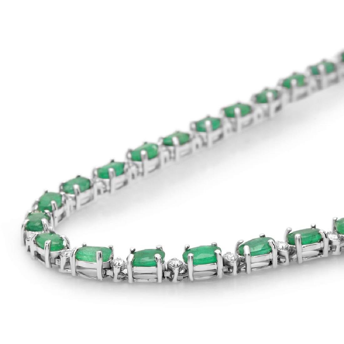 14K Gold 15.24ct Emerald 1.30cts Diamond Necklace - 2