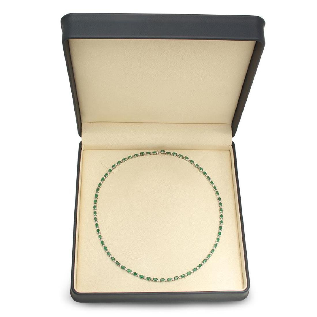 14K Gold 15.24ct Emerald 1.30cts Diamond Necklace - 4