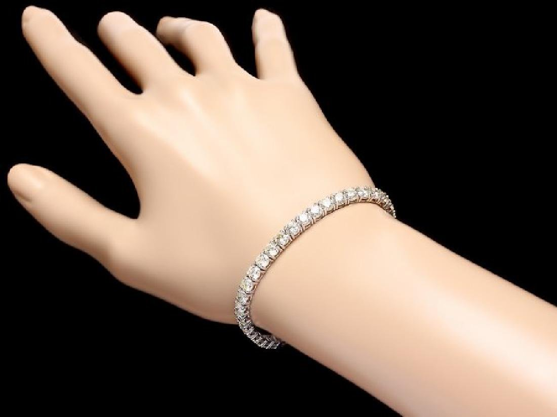 18k White Gold 12.00ct Diamond Tennis Bracelet - 5