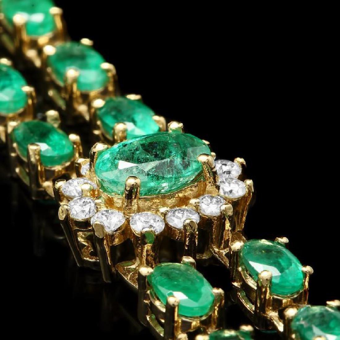 14k Gold 12.00ct Emerald 1.50ct Diamond Bracelet