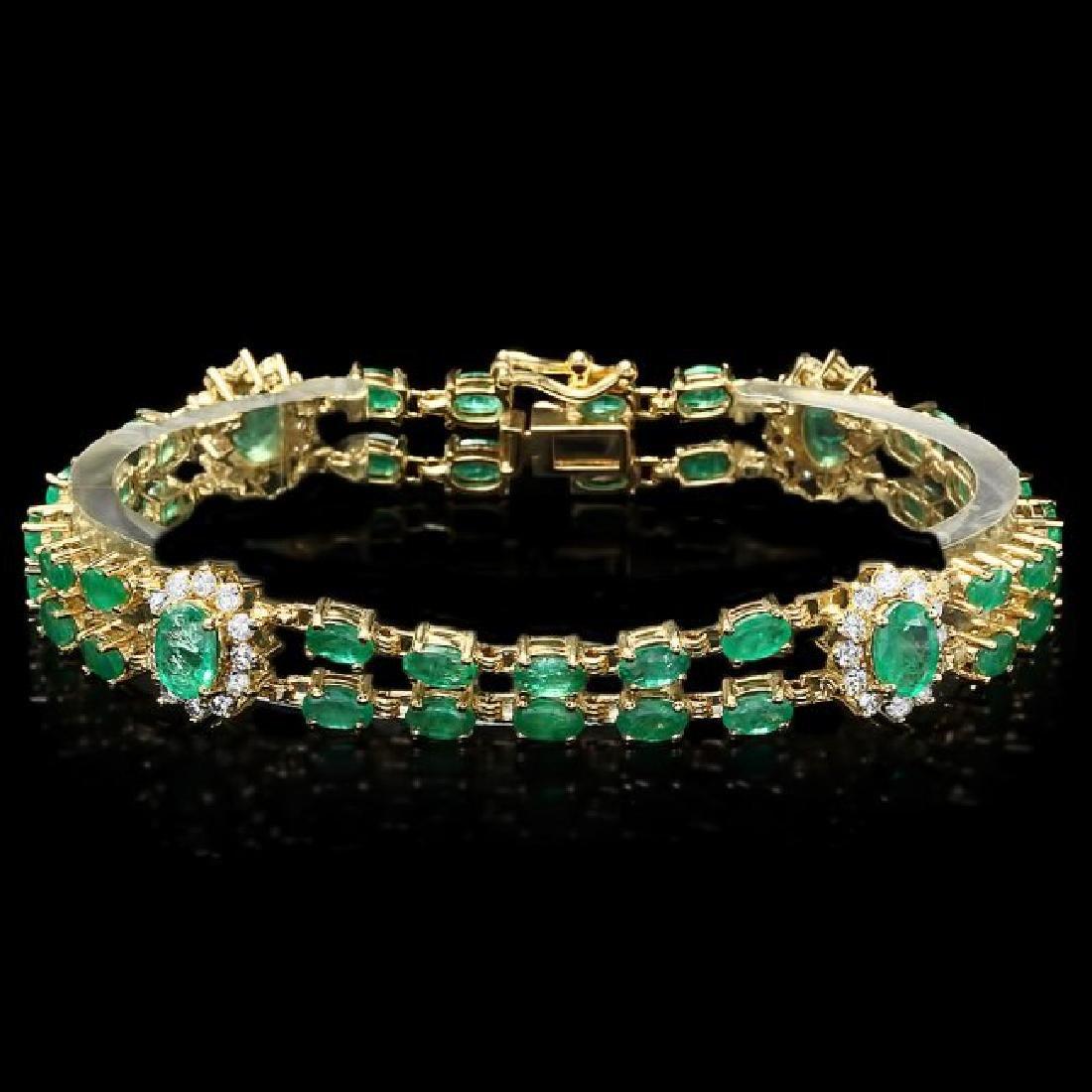 14k Gold 12.00ct Emerald 1.50ct Diamond Bracelet - 2