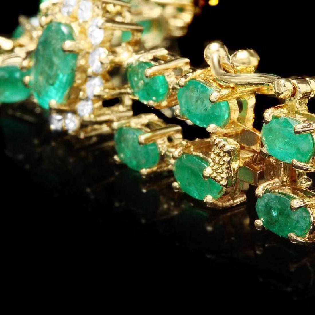 14k Gold 12.00ct Emerald 1.50ct Diamond Bracelet - 3