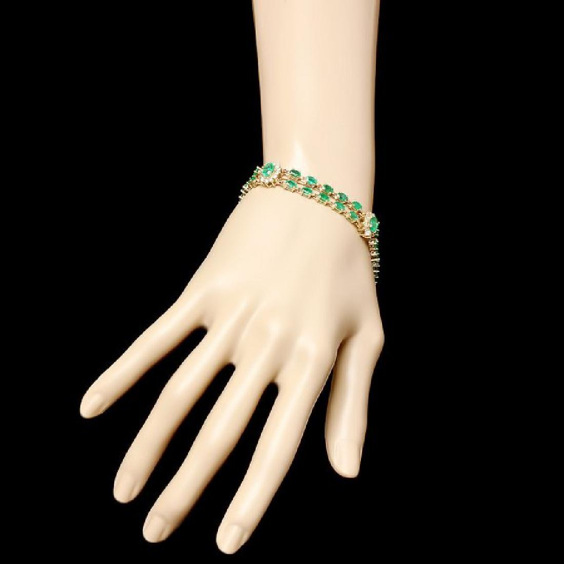 14k Gold 12.00ct Emerald 1.50ct Diamond Bracelet - 4