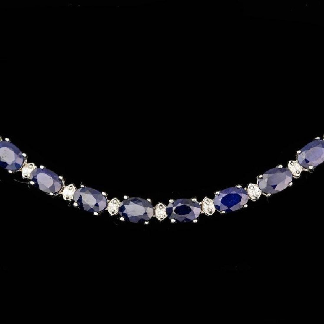 14k Gold 30.00ct Sapphire 1.35ct Diamond Necklace - 2