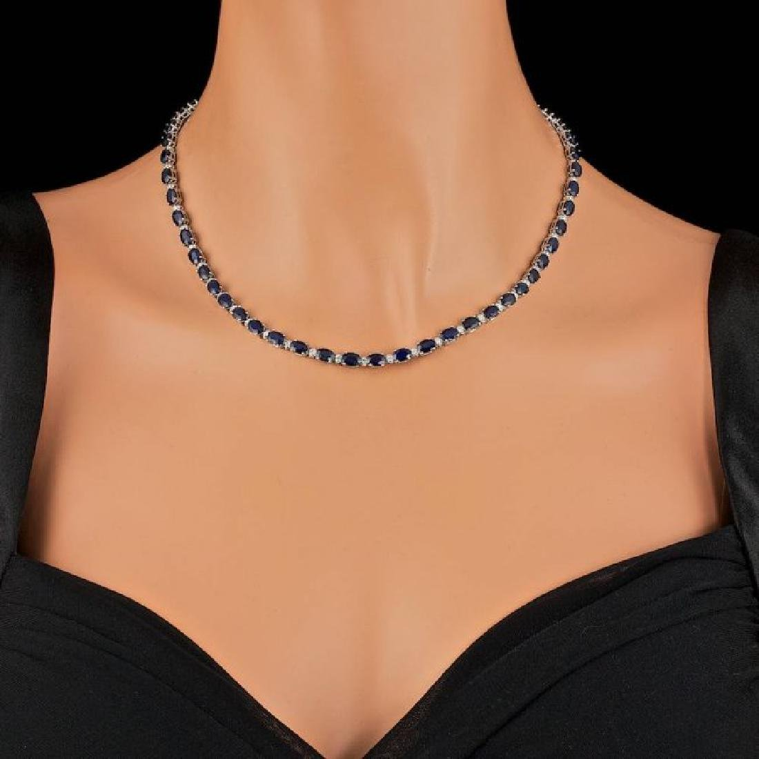 14k Gold 30.00ct Sapphire 1.35ct Diamond Necklace - 4