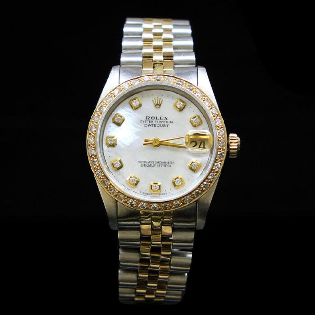 Rolex Two-Tone DateJust 31mm White MOP Dial Diamond
