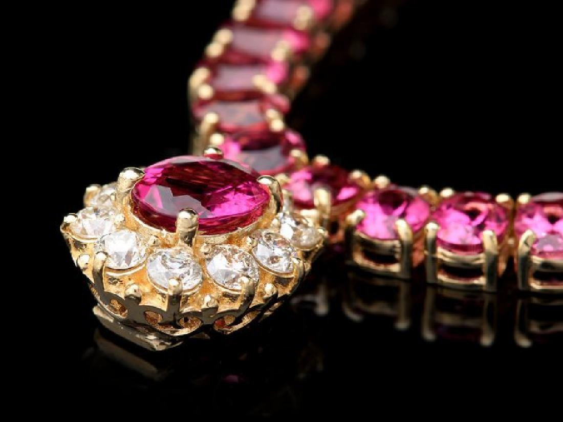14k Gold 40ct Tourmaline 1ct Diamond Necklace