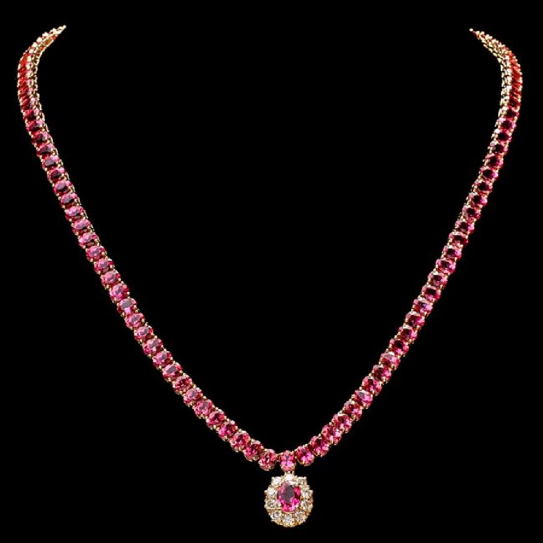 14k Gold 40ct Tourmaline 1ct Diamond Necklace - 2
