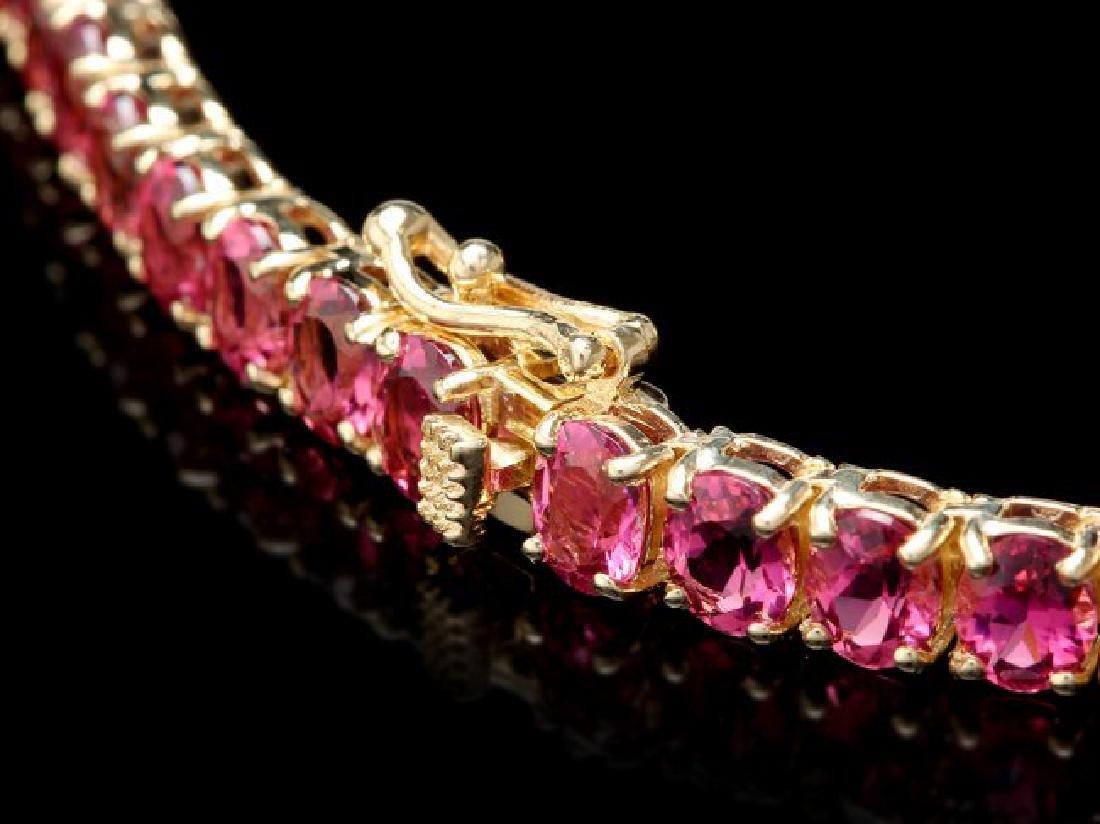 14k Gold 40ct Tourmaline 1ct Diamond Necklace - 3