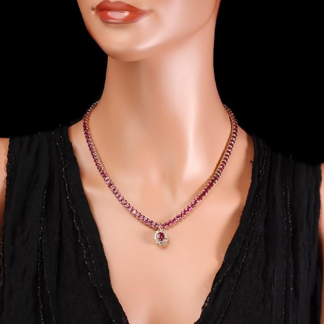 14k Gold 40ct Tourmaline 1ct Diamond Necklace - 5
