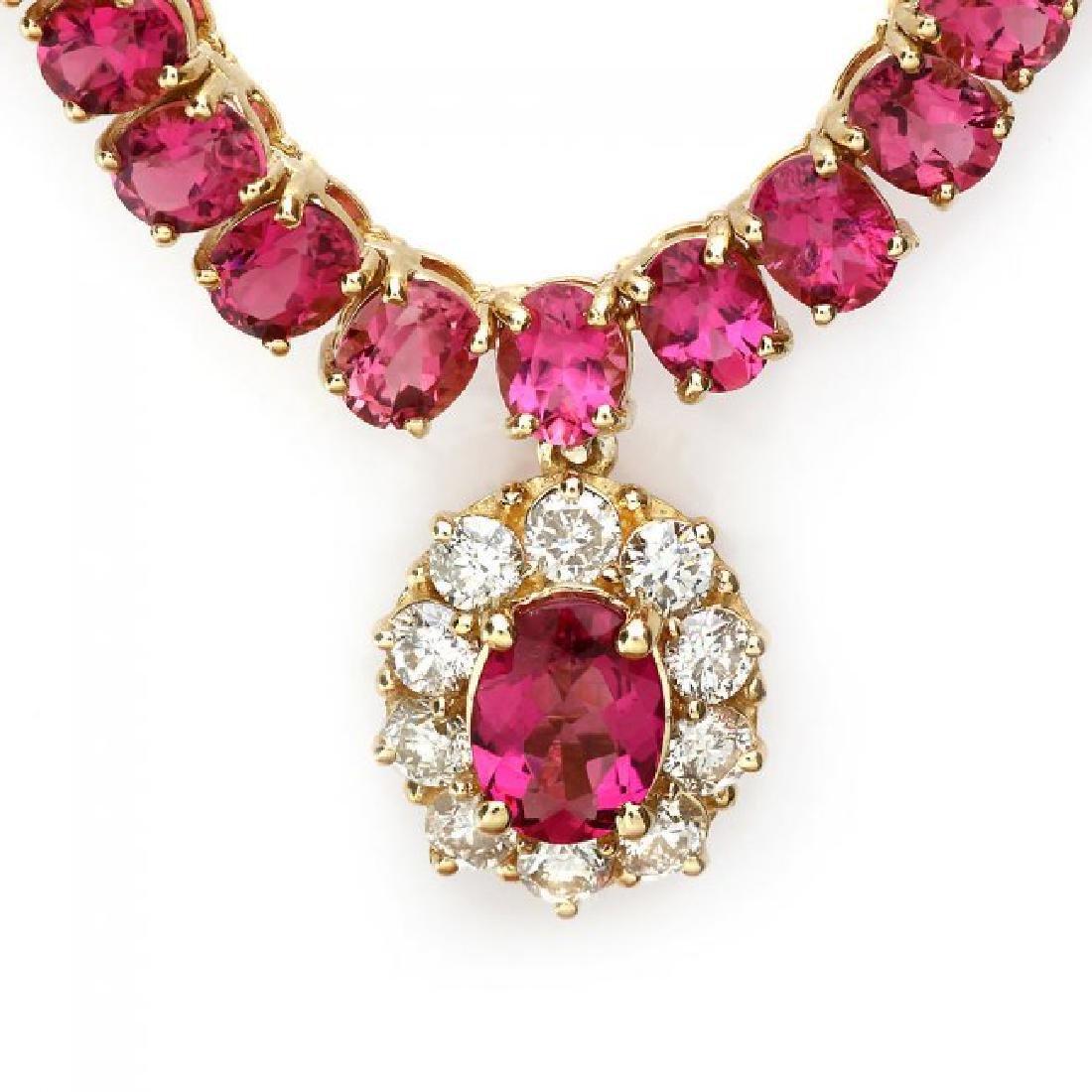 14k Gold 40ct Tourmaline 1ct Diamond Necklace - 7