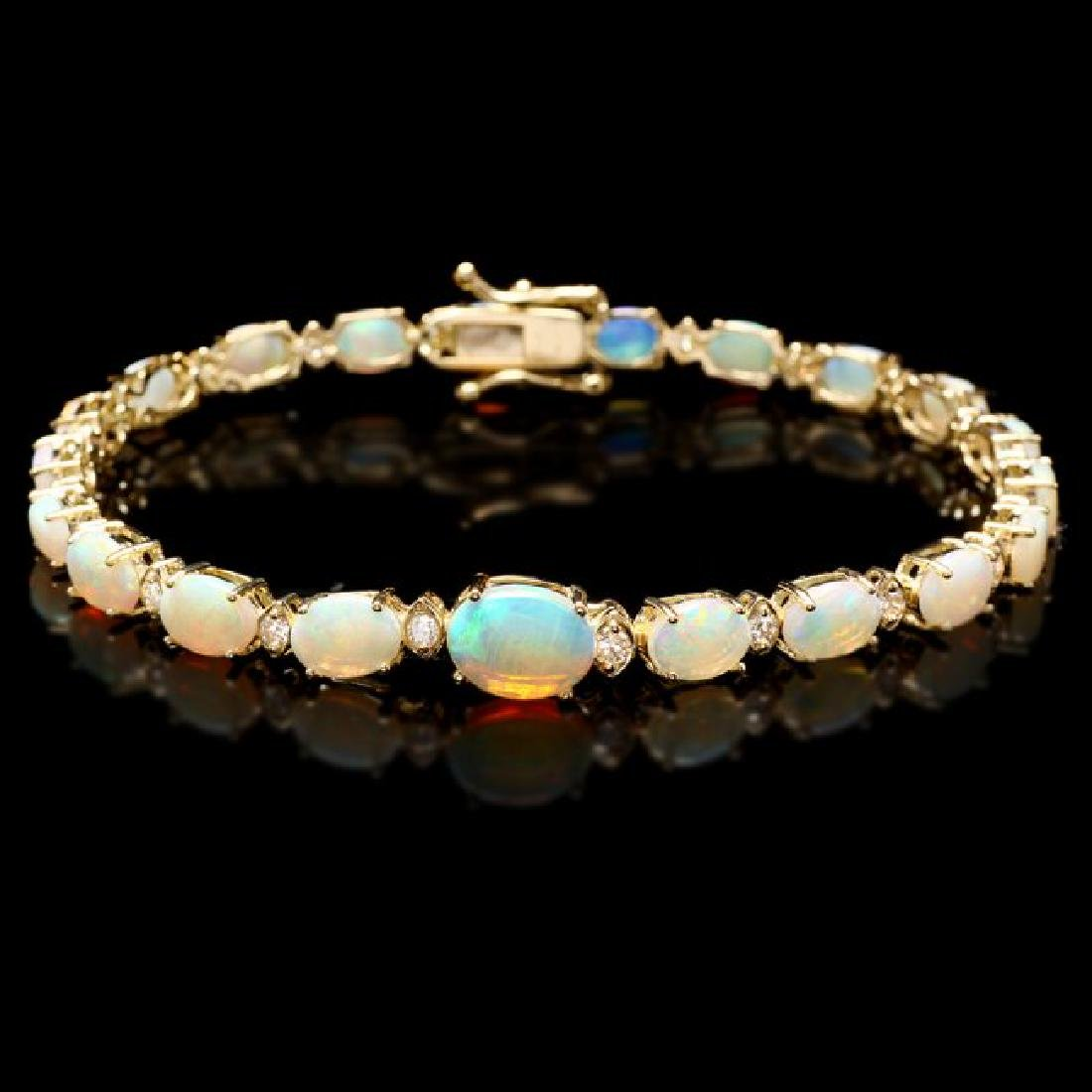 14k Gold 7.00ct Opal 0.50ct Diamond Bracelet