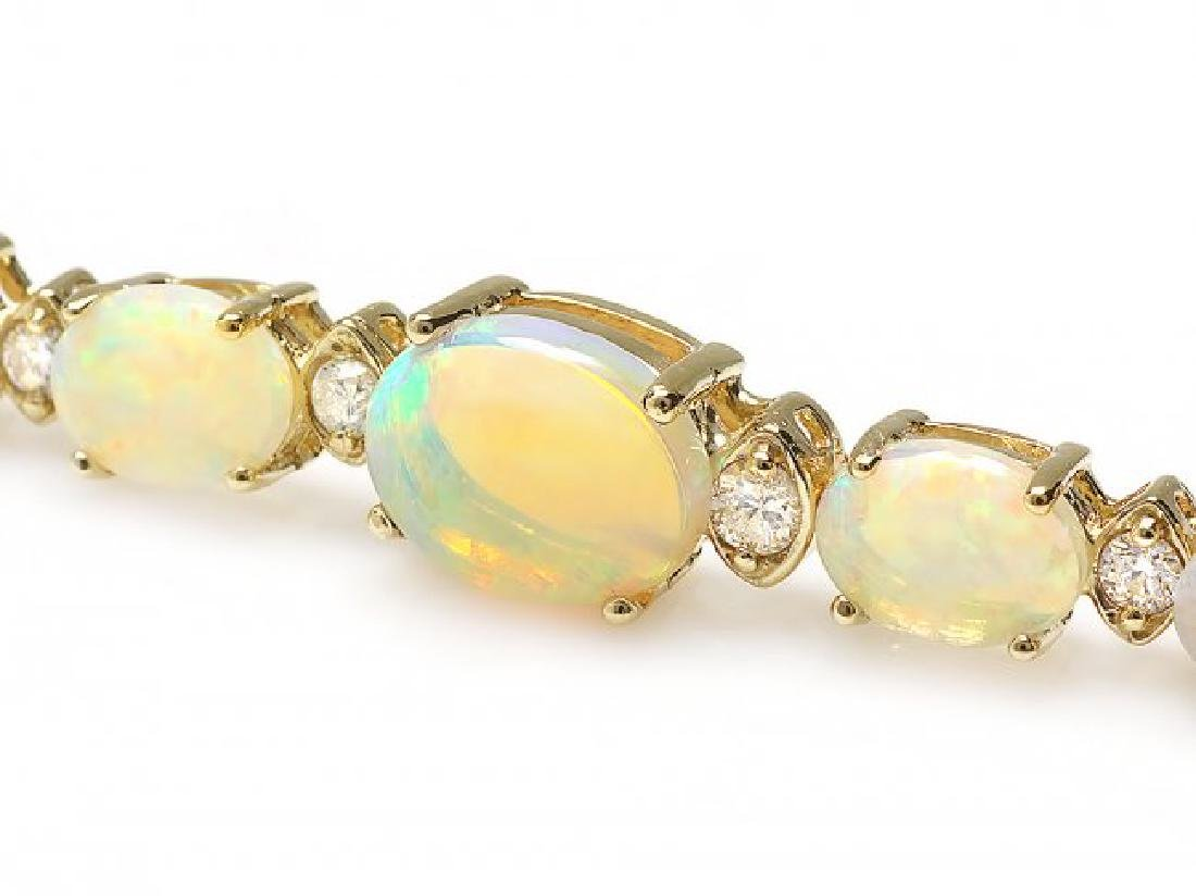 14k Gold 7.00ct Opal 0.50ct Diamond Bracelet - 2