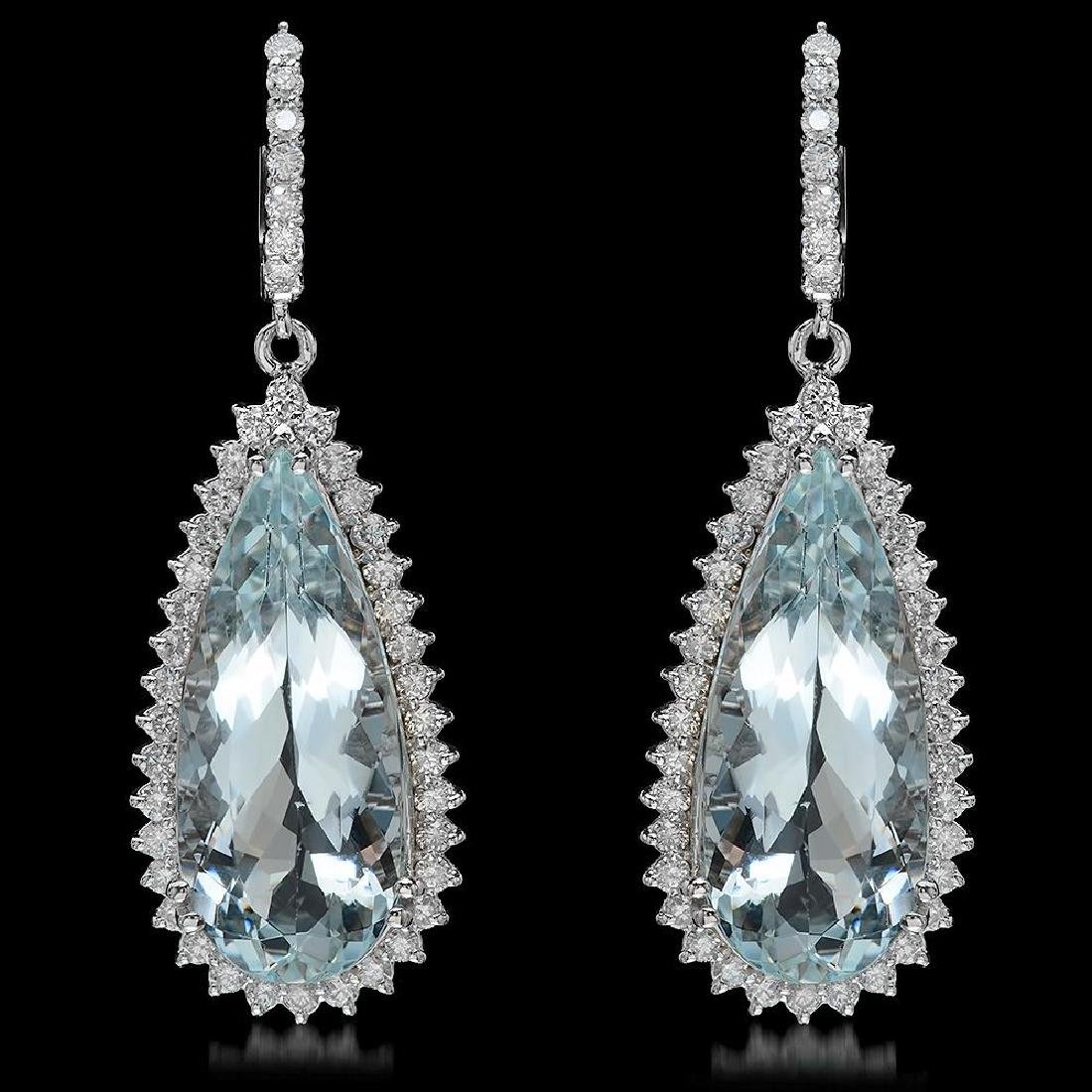 14K Gold 28.67ct Aquamarine 2.41ct Diamond Earrings