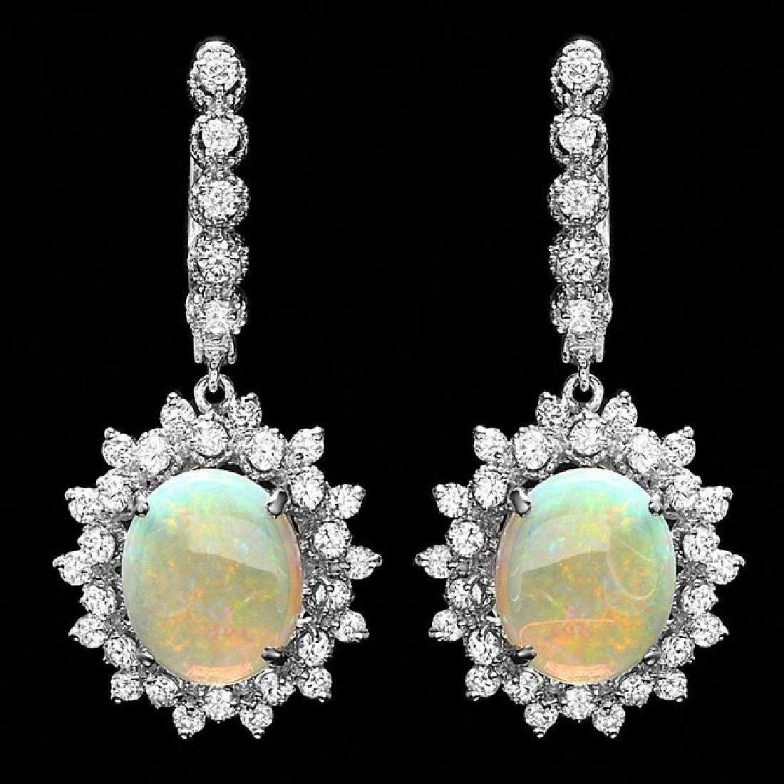 14k Gold 4.50ct Opal 1.90ct Diamond Earrings