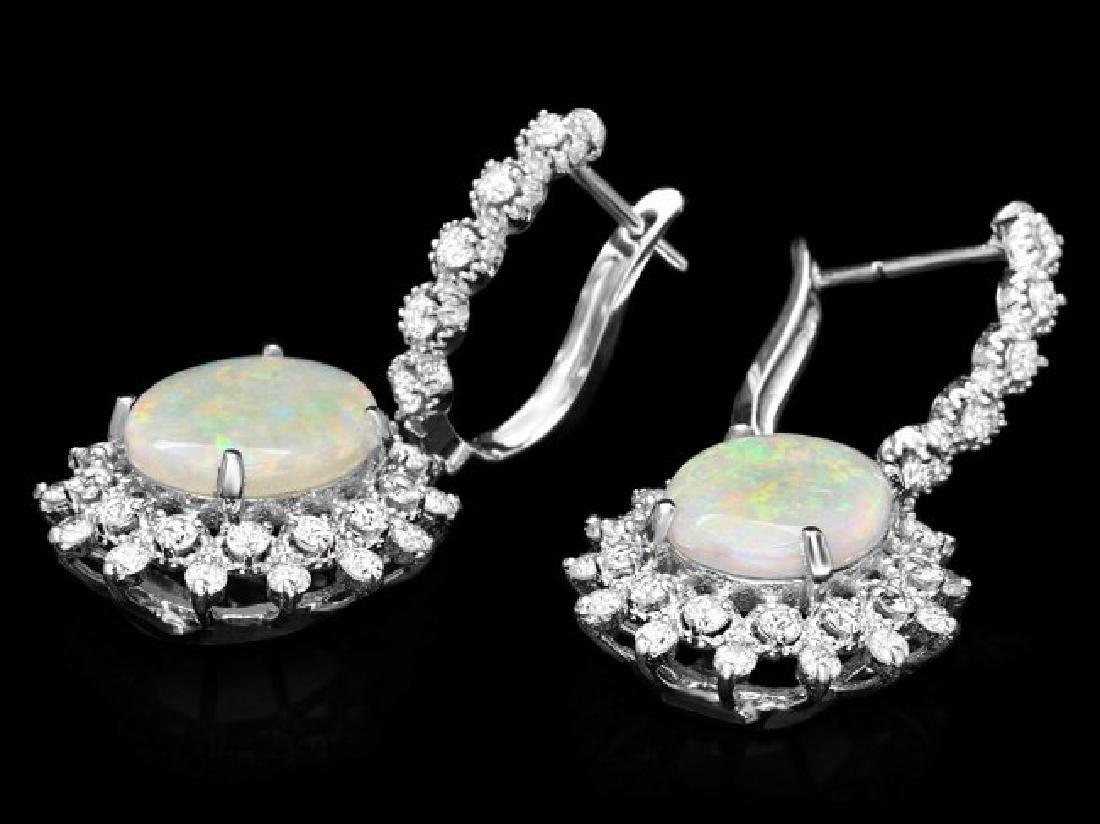 14k Gold 4.50ct Opal 1.90ct Diamond Earrings - 2