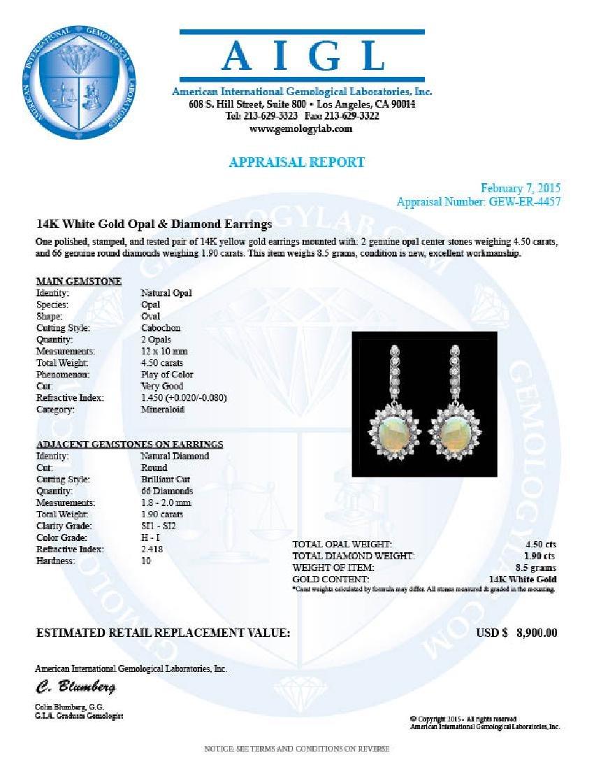 14k Gold 4.50ct Opal 1.90ct Diamond Earrings - 3