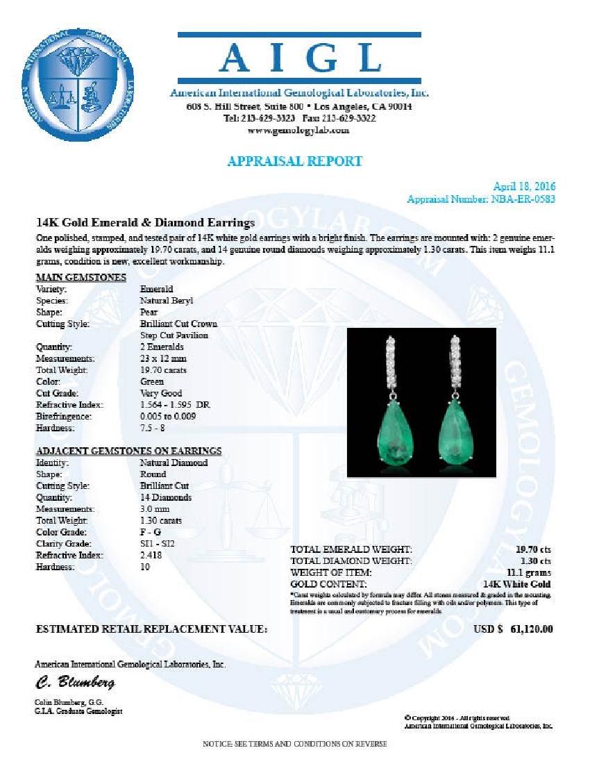 14K Gold 19.70ct Emerald 1.30ct Diamond Earrings - 4