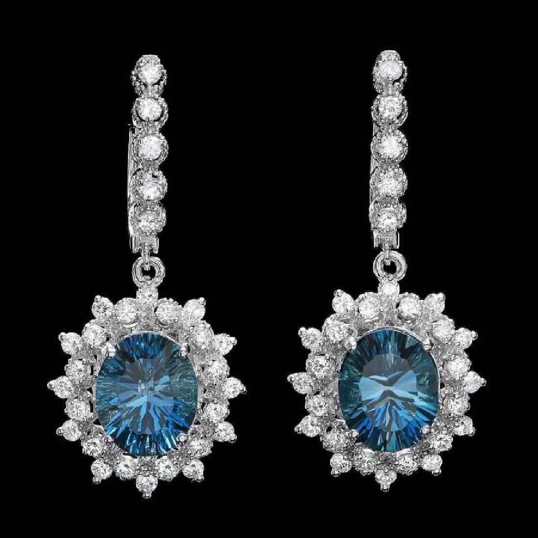14k Gold 8.00ct Topaz 1.80ct Diamond Earrings