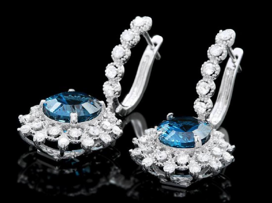 14k Gold 8.00ct Topaz 1.80ct Diamond Earrings - 2