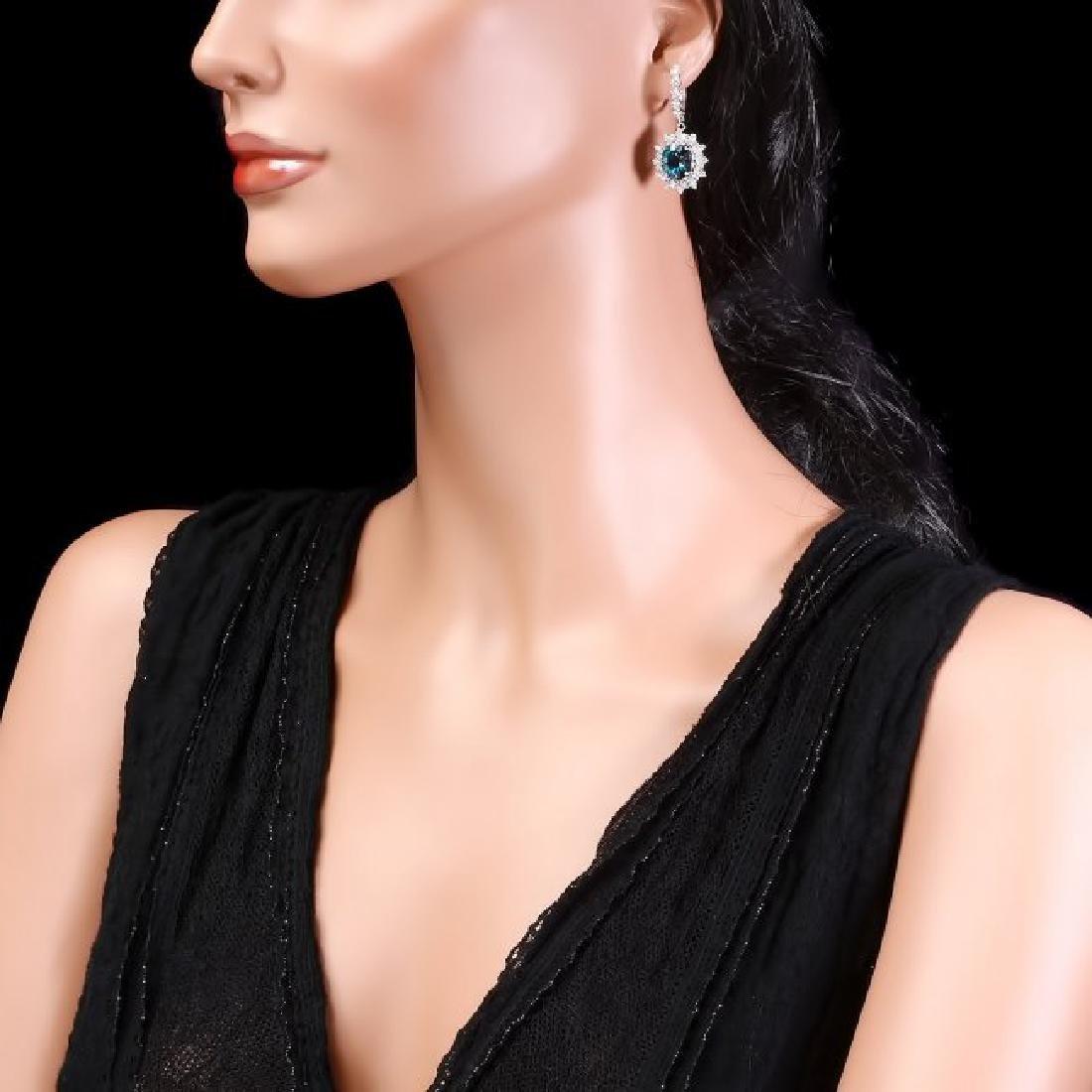 14k Gold 8.00ct Topaz 1.80ct Diamond Earrings - 3