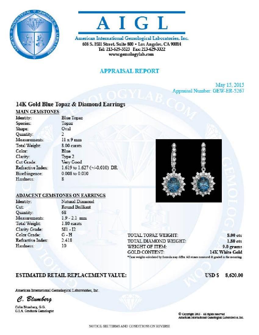 14k Gold 8.00ct Topaz 1.80ct Diamond Earrings - 4