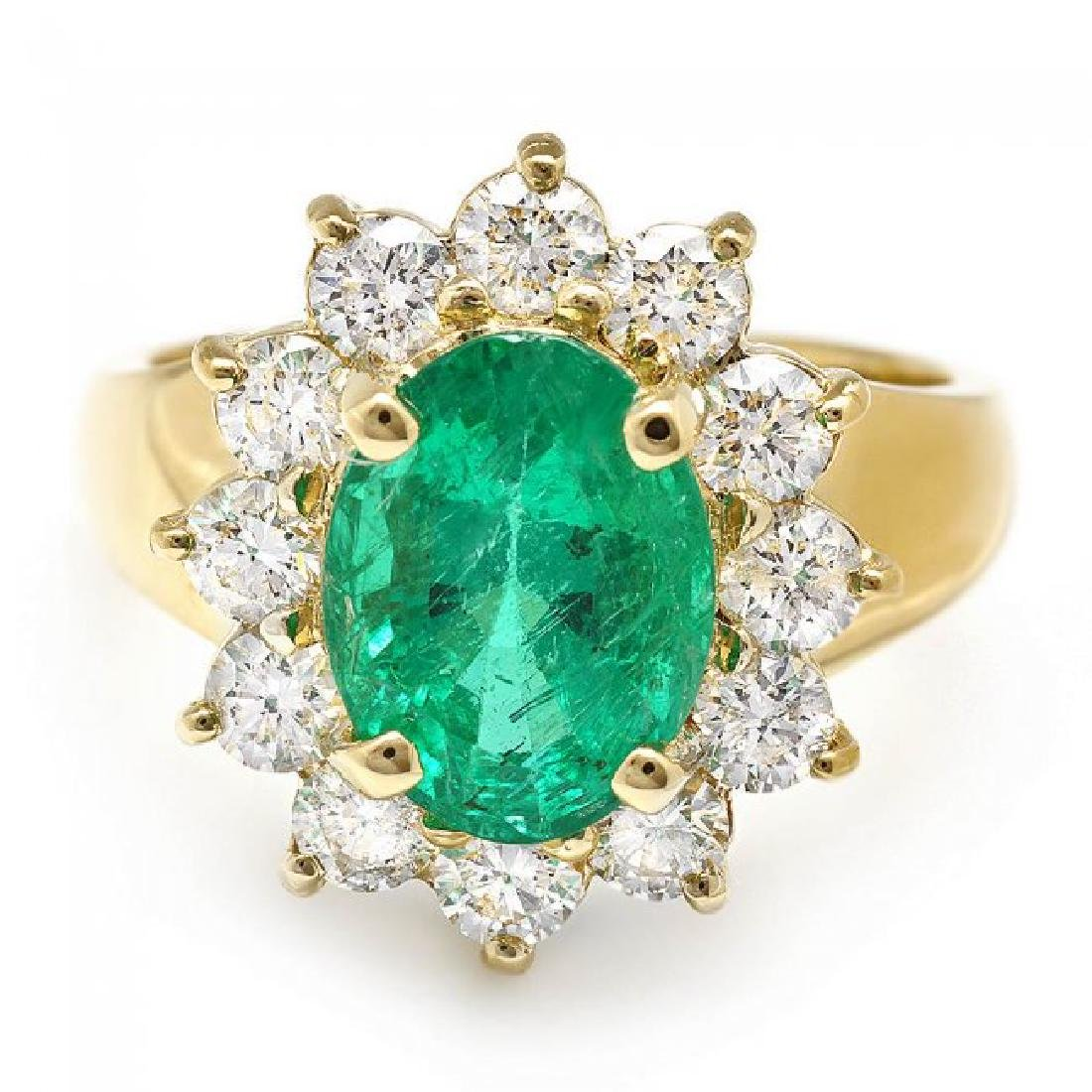 14k Gold 2.70ct Emerald 1.30ct Diamond Ring - 2
