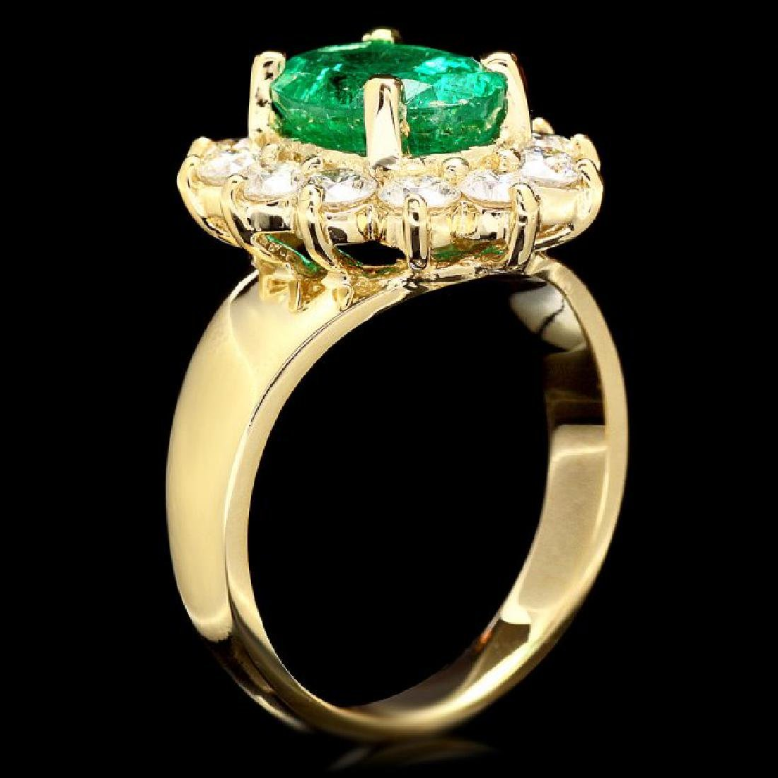 14k Gold 2.70ct Emerald 1.30ct Diamond Ring - 3